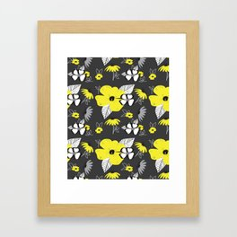 Yellow and Black Drawn Flowers on Gray Framed Art Print