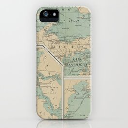 Vintage Great Lakes Lighthouse Map (1898) iPhone Case