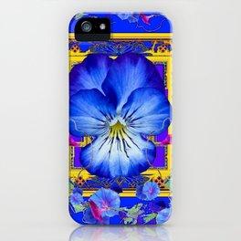 DECORATIVE BLUE PANSY & VINING  MORNING GLORIES iPhone Case