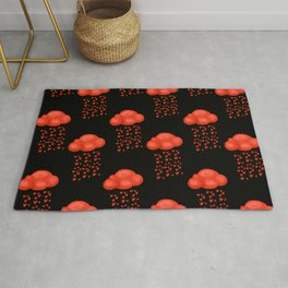 Watercolor Cloud Rain Of Red Heart Valentines Day  Rug