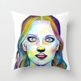 Girl Portrait Throw Pillow