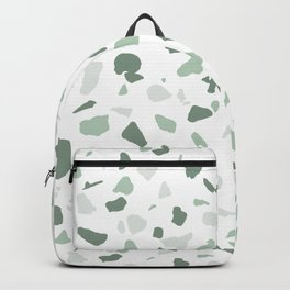 abstract terrazzo stone pattern sage green white Backpack