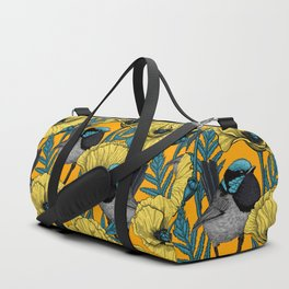 Fairy wren and poppies in yellow Duffle Bag