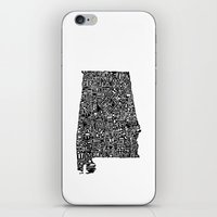 alabama iPhone & iPod Skins featuring Typographic Alabama by CAPow!