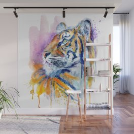 Young Tiger Watercolor Portrait Wall Mural