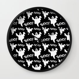 Cool black white ghost halloween boo typography Wall Clock