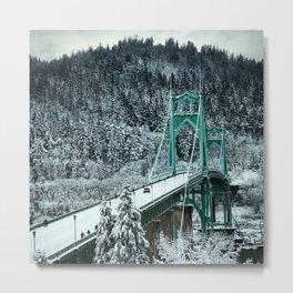 St Johns Bridge Winter Wonderland by Seasons Kaz Sparks Metal Print