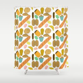 Patisseries de France French Pastries and Breads Shower Curtain