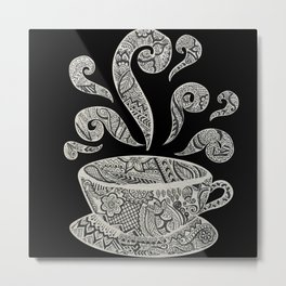 But first, Coffee - tea coffee lover zentangle Metal Print