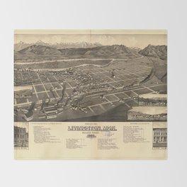 Bird's Eye View of Livingston, Montana (1883) Throw Blanket