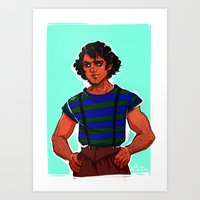 grantaire Art Prints featuring modern au grantaire by Nisie
