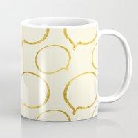 gold foil Mugs featuring Cream Gold Foil 01 by Aloke Design