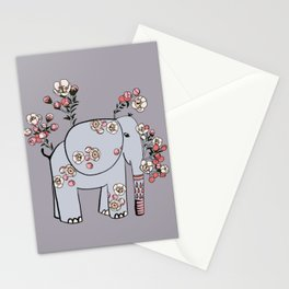 Elephant with Cherry Blossoms Stationery Cards