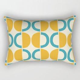 Mid Century Modern Half Circle Pattern 527 Beige Yellow and Turquoise Rectangular Pillow