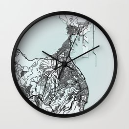 Las Palmas de Gran Canaria, Spain, White, City, Map Wall Clock