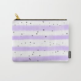 Modern pastel lavender black splatters stripes motif Carry-All Pouch