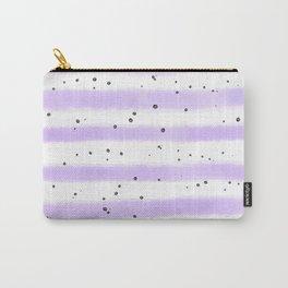 Modern pastel lavender black splatters stripes motif Carry-All Pouch
