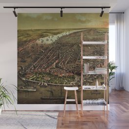 1873 NYC Ferd. Mayer & Sons, Lithograph of NYC - Manhattan in color Wall Mural