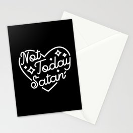 not today satan (b&w) Stationery Cards