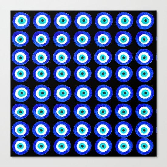 Evil Eye Talisman - on black Canvas Print