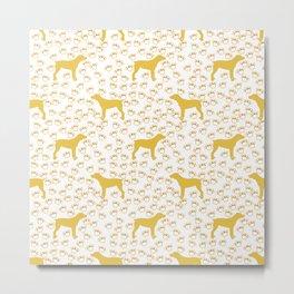 Big Yellow Dog and Paw Prints Metal Print