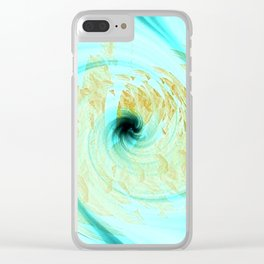 Teal and White Abstract Fashion Design Clear iPhone Case