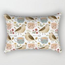 Birds, Teacups, and Flowers Rectangular Pillow
