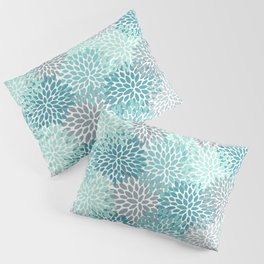 Modern Floral Prints, Teal, Turquoise and Gray Pillow Sham