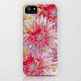 Pink dahlias on yellow iPhone Case