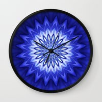 parks and recreation Wall Clocks featuring Mandala Recreation by Christine baessler