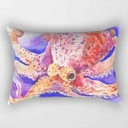Octopus, red blue beach design artwork Rectangular Pillow