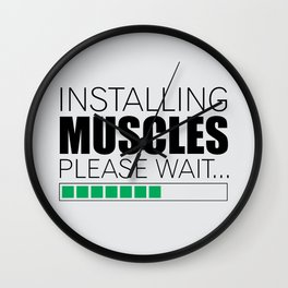 Lab No. 4 Installing Muscles Please Wait Gym Motivational Quotes Poster Wall Clock