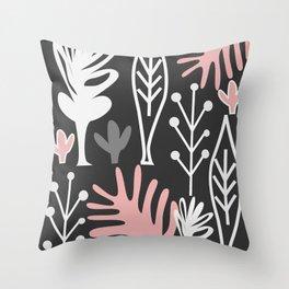 Midnight plant life Throw Pillow