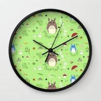 ghibli Wall Clocks featuring Ghibli pattern by Sophie Eves