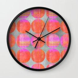 orange dots grunge mixed media modern pattern Wall Clock