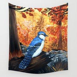 Blue Jay Life Wall Tapestry