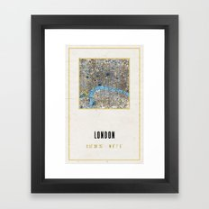 Vintage London Gold Foil Location Coordinates with map Framed Art Print