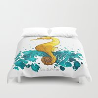 sea horse Duvet Covers featuring Sea Horse by Lore Illustration