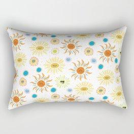 mid century retro sun solar 60's pattern Rectangular Pillow