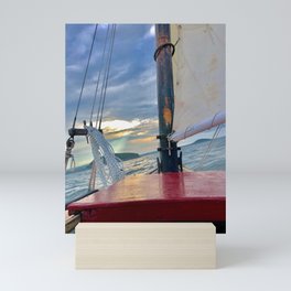 Sloop at Sea Mini Art Print