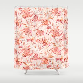 PINEAPPLE JUICE Peach Tropical Floral Shower Curtain