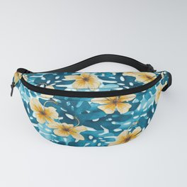 Tropical Hibiscus Pattern (white) Fanny Pack