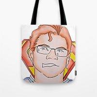 superman Tote Bags featuring Superman by ErikMcManusInc.