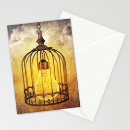 lightbulb in cage Stationery Cards