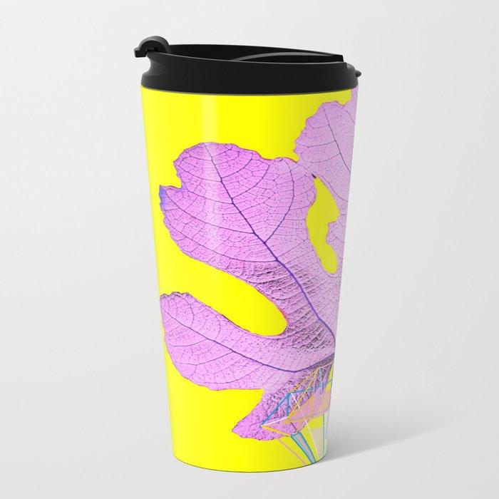 Fig Leaf Diamond Christmas Yellow Golden Metal Travel Mug