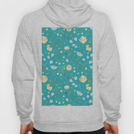 Colourscape Summer Floral Pattern Turquoise Lemon Hoody