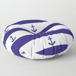 Navy Blue Stripes and Anchors Floor Pillow