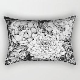 Dahlias & Peonies Black Rectangular Pillow
