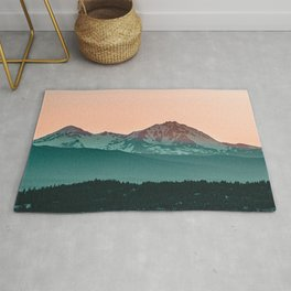 Grainy Sunset Mountain View // Textured Landscape Photograph of the Beautiful Orange and Blue Skies Rug