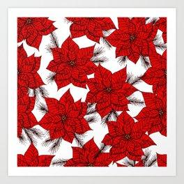 Poinsettia Christmas pattern Art Print